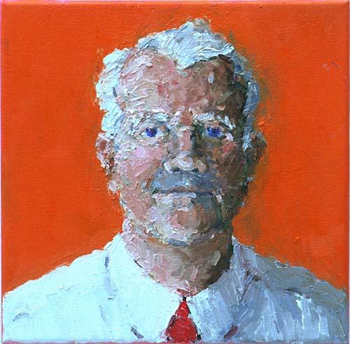 Rachel Clark portait commissions-portrait painting of Bruce Kent 2