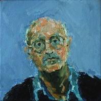 Rachel Clark portrait commissions-portrait painting of Edward Bond 2