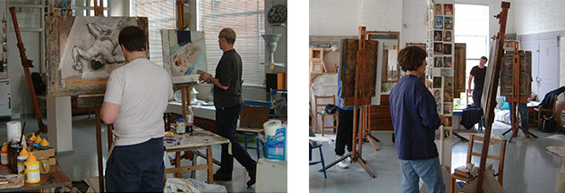 life drawing classes - pastels at Rachel Clark's life drawing school -invaluable tuition for students interested in finding a portrait painting school in London