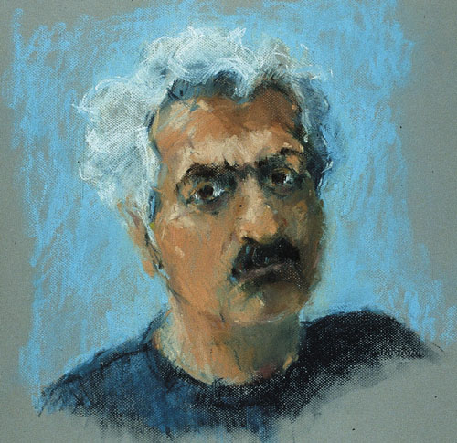 Rachel Clark portrait paintings-pastel of Tariq Ali from the series of portraits 'Contentious and Influential'