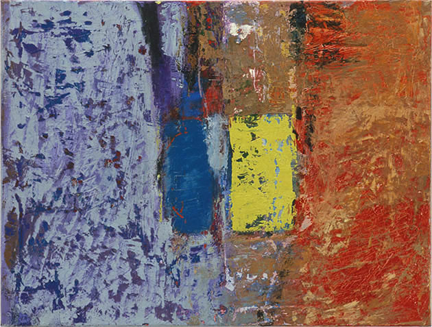 Burning Not Burning, an abstract painting in oil from the series Testament on view in the abstract art online gallery