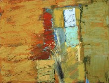 abstract painting in oil from the series Testament by the abstract artist Rachel Clark in Mark Thompson and Anthony Ward's modern abstract art collection
