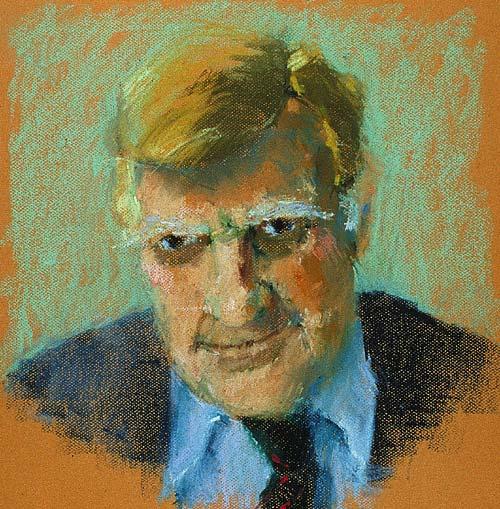 Rachel Clark portrait drawing-Sir Bernard Ingham -pastel on paper