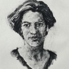 Rachel Clark portrait painting commissions- portrait of Lucy McPhail charcoal on paper