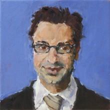 Rachel Clark portait painting of Dr Marco Catani, a study for the portrait commission 'The Maudsley Portrait'