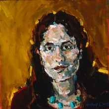 Rachel Clark portrait commissions-portrait painting in oil of Angie Rounsaville
