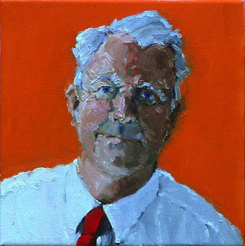 Rachel Clark portrait commissions-portrait painting of Bruce Kent 1