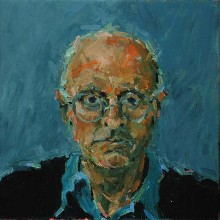 Rachel Clark portrait commissions-portrait painting in oil of the playwright Edward Bond