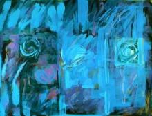 abstract art work in acrylic by the abstract artist Rachel Clark in Colin Wilk's modern abstract art collection