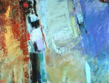 abstract painting in oil from the series The Planet Suite by the abstract artist Rachel Clark and in Dr Tony Druttman's abstract art collection