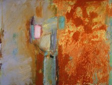 abstract painting in oil from the series The Planet Suite by the abstract artist Rachel Clark and in Martine Henry's modern abstract art collection