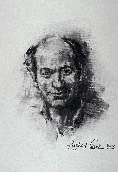 Rachel Clark portrait drawing in charcoal on paper - study of Dr Tony Druttman