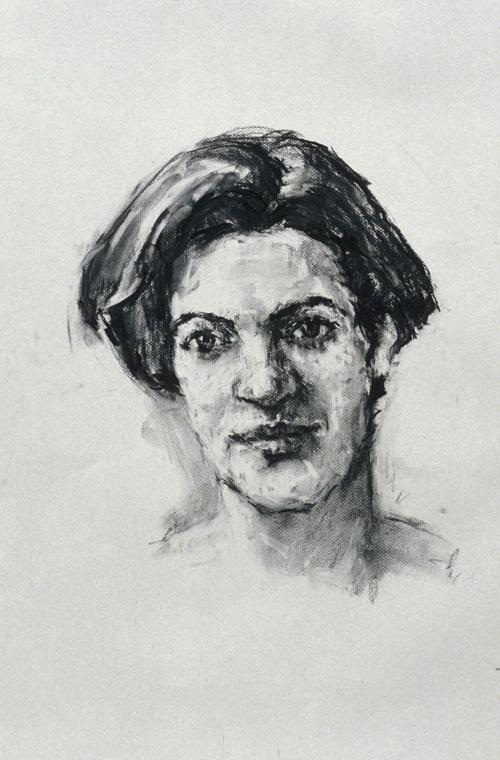 Rachel Clark portrait commission of Lucy McPhail - portrait drawing charcoal on paper