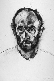 Rachel Clark charcoal drawing on paper, study for portrait painting commission