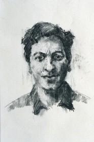 Rachel Clark portrait drawing study in charcoal for portrait commission 'The Maudsley Portrait'