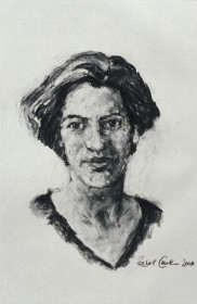 Rachel Clark portrait drawing commission Lucy McPhail 2 - charcoal on paper