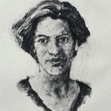 Rachel Clark portrait painting commissions- portrait of Lucy McPhail charcoal on paper