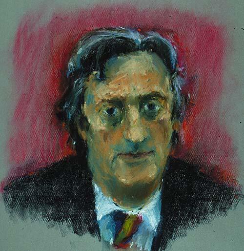 Rachel Clark portrait drawing-Mike Mansfield QC-pastel on paper