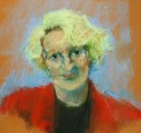 Rachel Clark portrait drawing-Julia Neuberger-pastel on paper